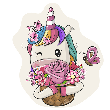 Cute Cartoon Unicorn with Flowers on a white background