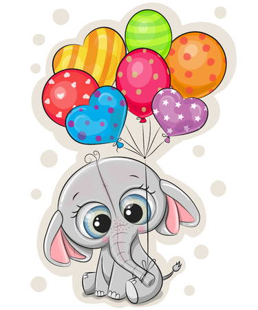 Cute cartoon elephant with balloons on white background Иллюстрация
