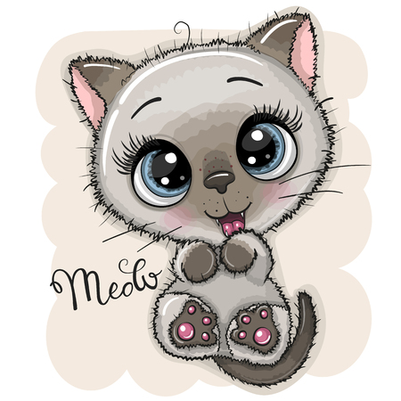 Cute Cartoon Kitten with big blue eyes Illustration
