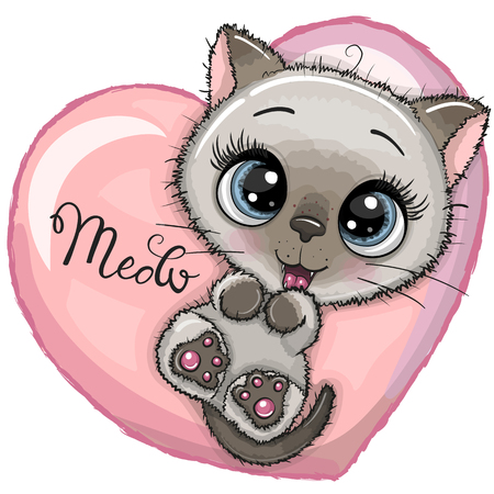 Cute Cartoon Kitten with big blue eyes is lying on a heart Stock Illustratie