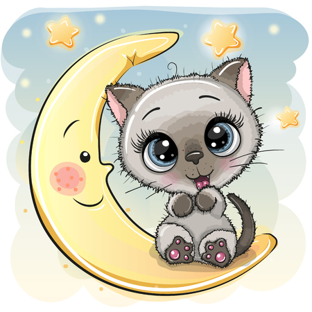 Cute Cartoon Kitten is sitting on the moon  イラスト・ベクター素材