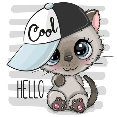 Cartoon Cool Kitten with a blue cap on striped background