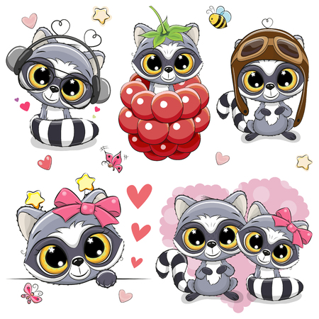 Set of Cute Cartoon Raccoons on a white background