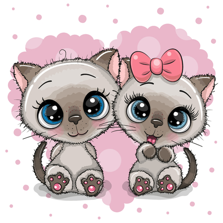 Two cute Cartoon Kittens on a heart background