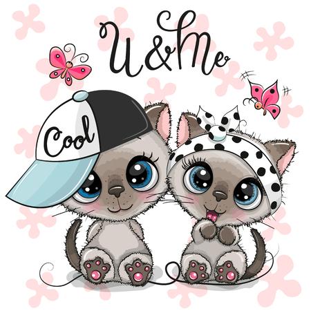 Zwei süße Cartoon-Kätzchen, Junge und Mädchen mit Mütze und Schleife