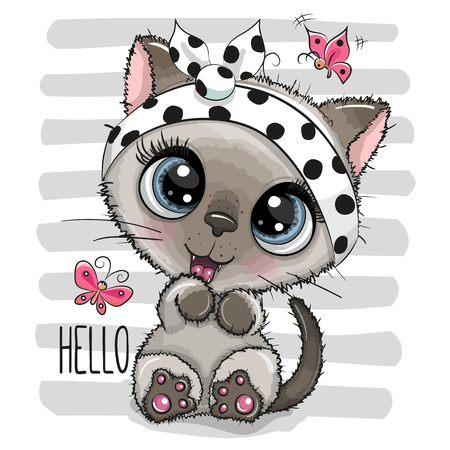 Cartoon Cool Kitten with a butterflies on striped background