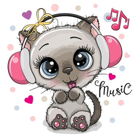 Cute cartoon Kitten girl with pink headphones on a white background Иллюстрация