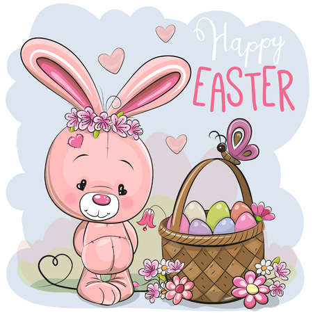 Cute Cartoon pink Bunny with a basket of Easter eggs 向量圖像