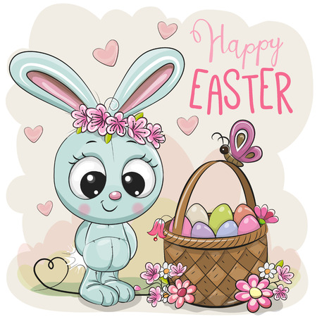 Cute Cartoon blue Bunny with a basket of Easter eggs Stock Illustratie