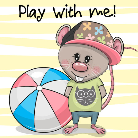 Cute Cartoon Rat with a ball on a yellow background Illustration