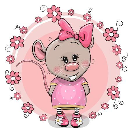 Carte de voeux Rat mignon de bande dessinée avec des fleurs Vecteurs