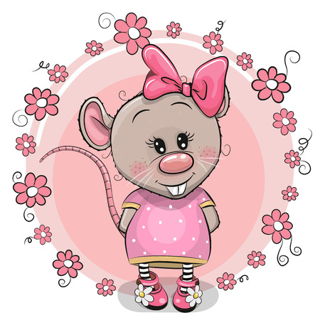 Greeting card Cute Cartoon Rat with flowers Vector Illustration