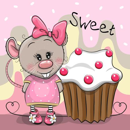 Greeting card Cute Cartoon Rat with cake