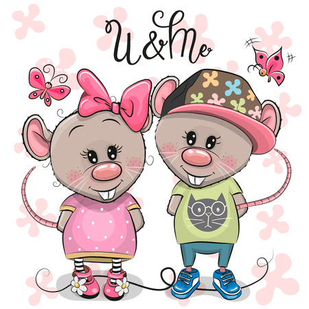 Two cute Cartoon Rats on a flowers background Illustration