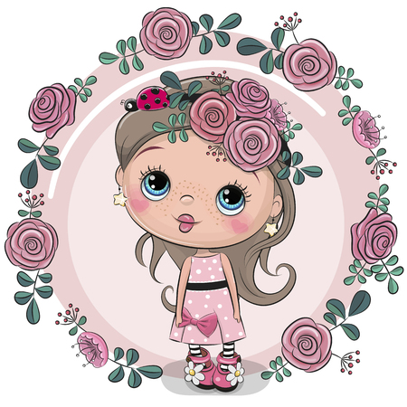 Greeting card Cute Cartoon girl with flowers on a pink background