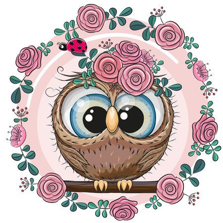 Greeting card Cute Owl with flowers
