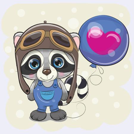 Greeting card Cute Cartoon Raccoon Boy in a pilot with blue balloon