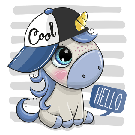 Cartoon Cool Unicorn with a blue cap on striped background Ilustração