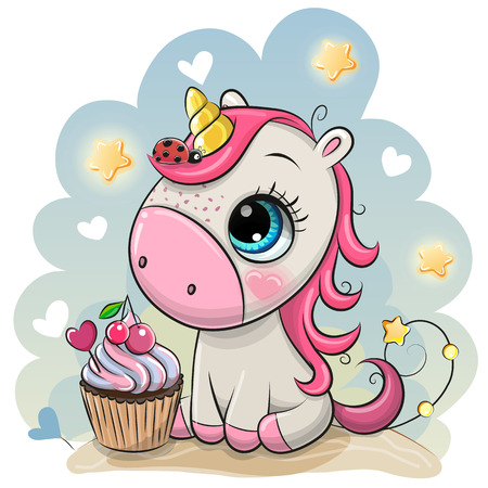 Cute Cartoon Unicorn with cupcake on a Blue background