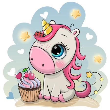 Unicornio de dibujos animados lindo con cupcake sobre un fondo azul Ilustración de vector