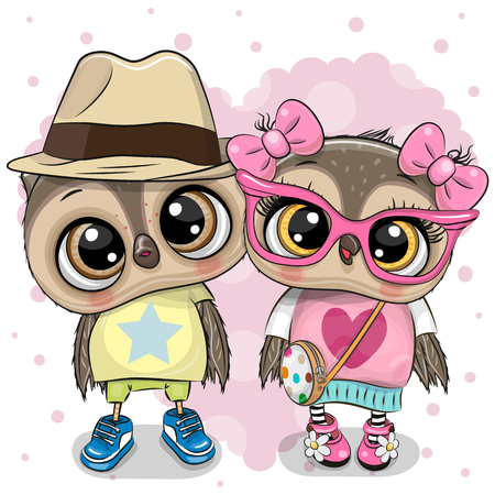 Two cute Cartoon Owls on a heart background