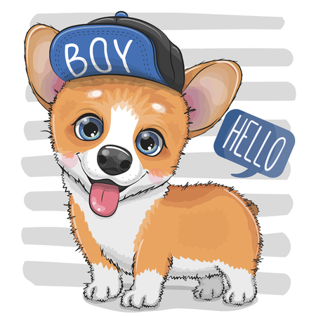 Cute cartoon Dog Corgi in a cap