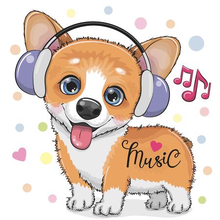Cute cartoon Corgi Dog with headphones on a white background