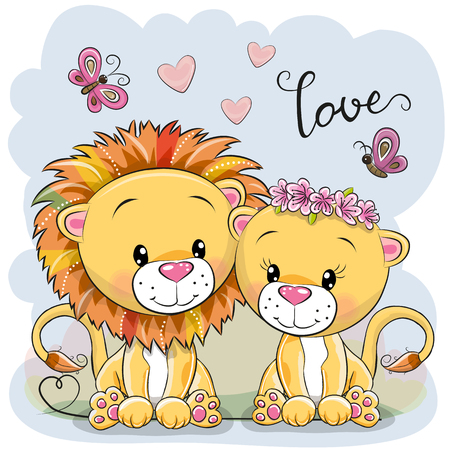 Two cute Cartoon Lions on a blue background