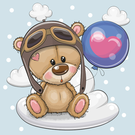 Greeting card Cute Cartoon Teddy Bear in a pilot with blue balloon on a cloud  イラスト・ベクター素材