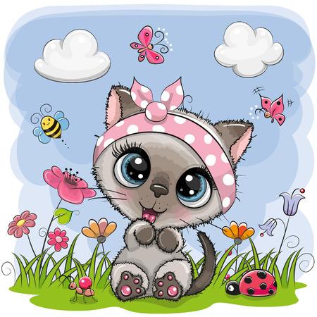 Linda chica de dibujos animados gatito en un prado con flores y mariposas