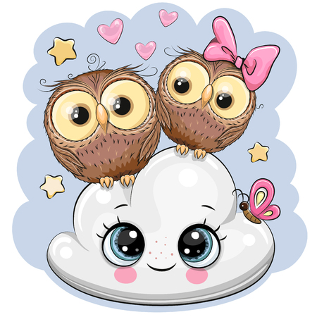 Two cute Cartoon owls on a cloud