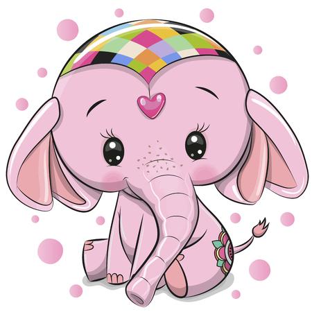 Cute dibujos animados elefante rosa aislado sobre un fondo blanco. Ilustración de vector