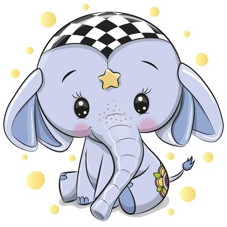 Cute Cartoon Blue Elephant isolated on a white background Illustration