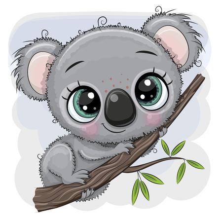 Cute dibujos animados Koala está sentado en un árbol