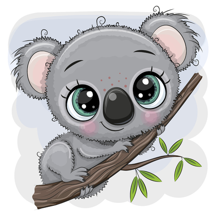 Cute Cartoon Koala is sitting on a tree