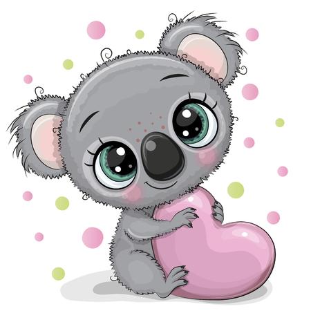 Cute Cartoon Koala with heart isolated on a white background Illustration