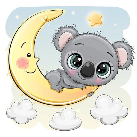 Cute dibujos animados Koala está sentado en la luna