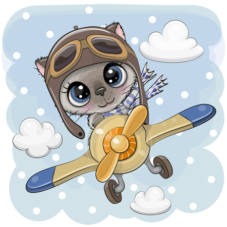 Cute Cartoon Kitten is flying on a plane