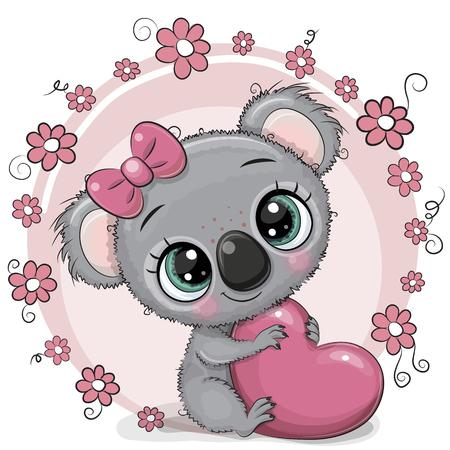 Carte de voeux Koala de dessin animé mignon avec coeur