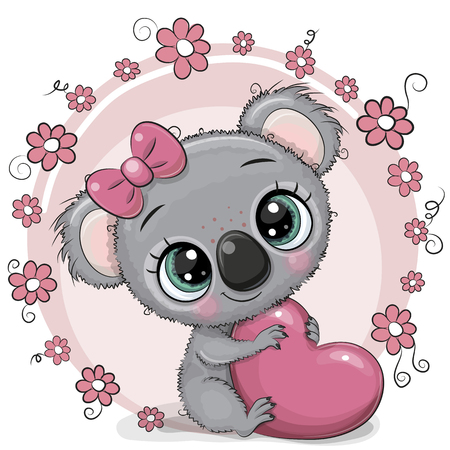 Greeting card Cute cartoon Koala with heart Stockfoto - 124122617
