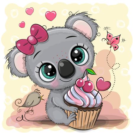 Tarjeta de felicitación de dibujos animados lindo Koala con pastel Ilustración de vector