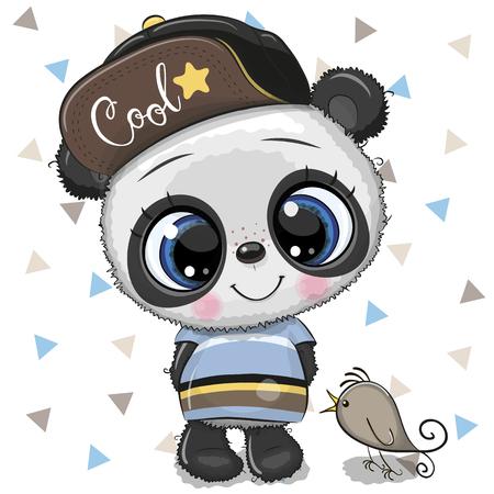 Panda bebé de dibujos animados lindo en una gorra con pájaro sobre un fondo blanco
