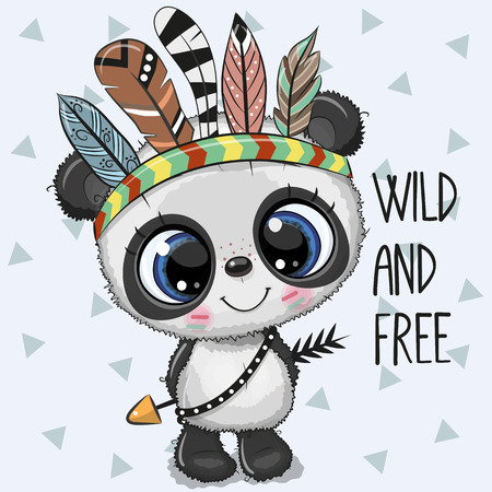 Cute Cartoon tribal baby Panda with feathers on a white background