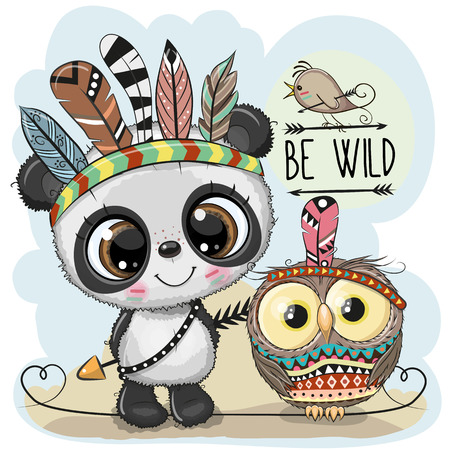 Cute Cartoon tribal Panda and owl with feathers
