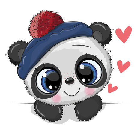Cute Drawing Baby Panda in a sailor hat on a white background
