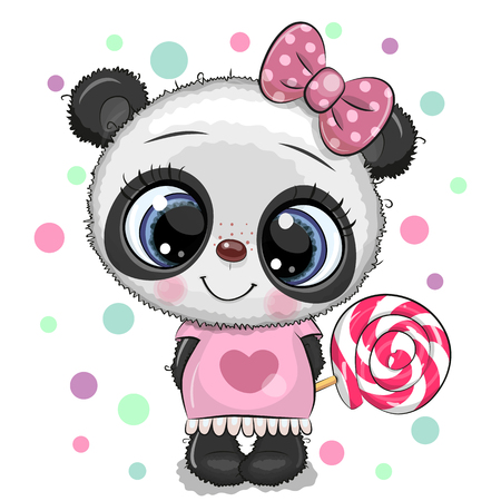 Cute Cartoon baby Panda in a dress with Lollipop