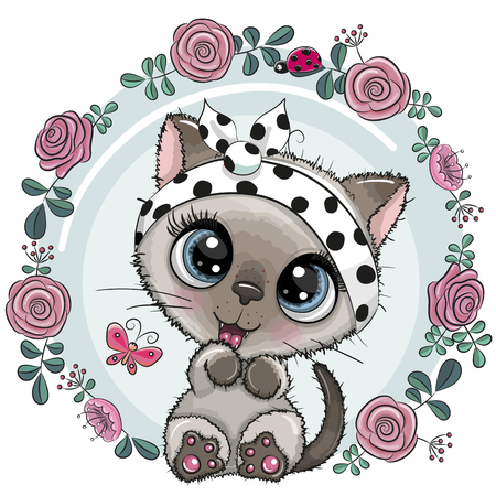 Greeting card Cute Cartoon Kitten with flowers Ilustração