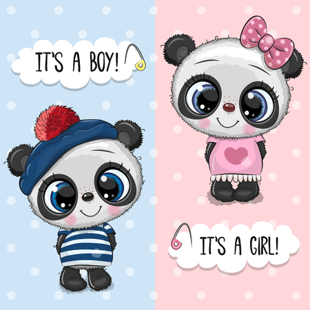 Baby Shower greeting card with Cute Pandas boy and girl
