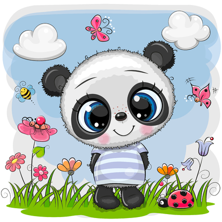 Cute Cartoon Baby Panda on a meadow with flowers and butterflies