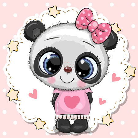 Cute cartoon Baby Panda girl with pink bow Imagens - 123969324